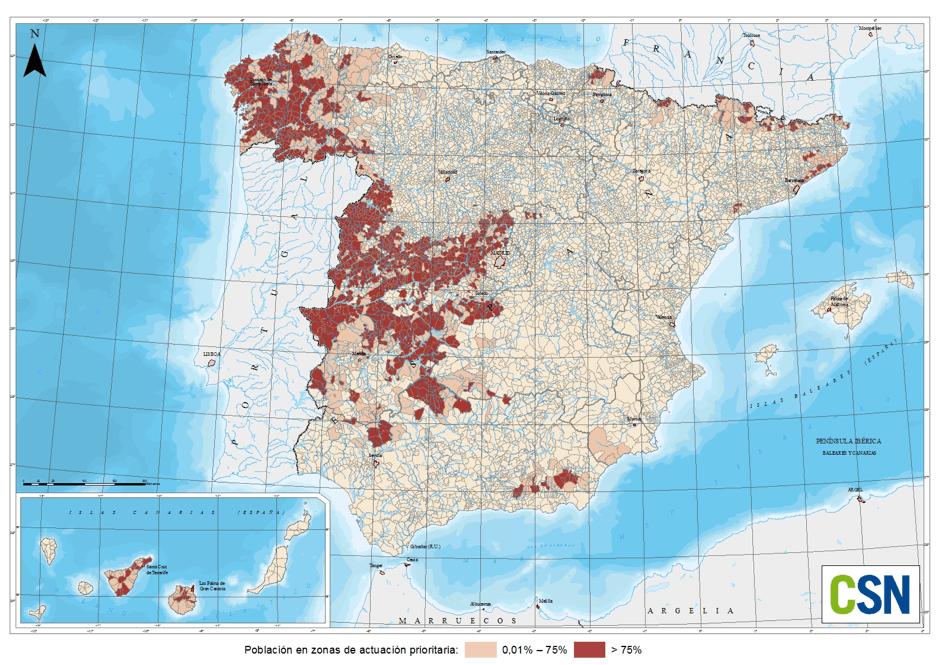 Mapa de gas radón en España
